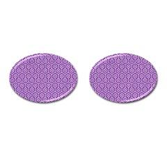 Hexagon1 White Marble & Purple Denim Cufflinks (oval)