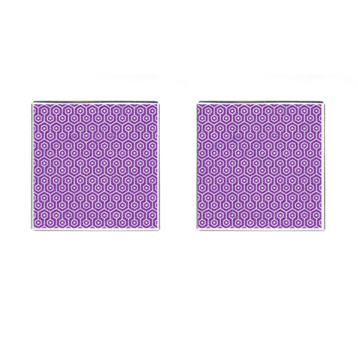HEXAGON1 WHITE MARBLE & PURPLE DENIM Cufflinks (Square)