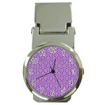 HEXAGON1 WHITE MARBLE & PURPLE DENIM Money Clip Watches Front