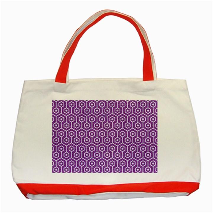 HEXAGON1 WHITE MARBLE & PURPLE DENIM Classic Tote Bag (Red)