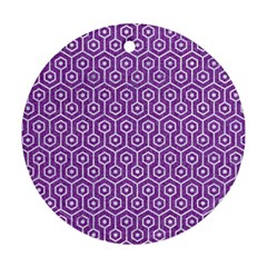 Hexagon1 White Marble & Purple Denim Round Ornament (two Sides)