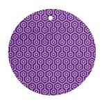 HEXAGON1 WHITE MARBLE & PURPLE DENIM Round Ornament (Two Sides) Back