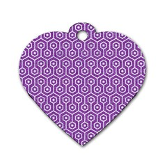 Hexagon1 White Marble & Purple Denim Dog Tag Heart (two Sides)