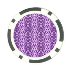 Hexagon1 White Marble & Purple Denim Poker Chip Card Guard