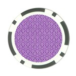 HEXAGON1 WHITE MARBLE & PURPLE DENIM Poker Chip Card Guard Front