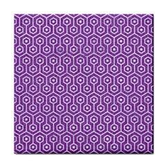 Hexagon1 White Marble & Purple Denim Face Towel