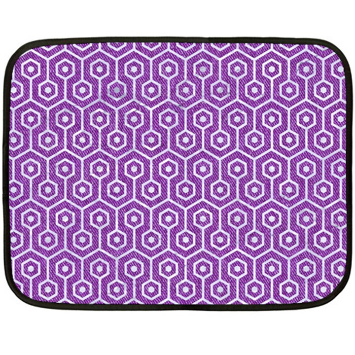 HEXAGON1 WHITE MARBLE & PURPLE DENIM Double Sided Fleece Blanket (Mini)
