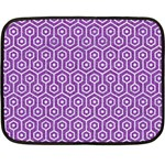 HEXAGON1 WHITE MARBLE & PURPLE DENIM Double Sided Fleece Blanket (Mini)  35 x27 Blanket Back