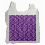 HEXAGON1 WHITE MARBLE & PURPLE DENIM Recycle Bag (One Side) Front