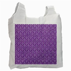 Hexagon1 White Marble & Purple Denim Recycle Bag (two Side)  by trendistuff