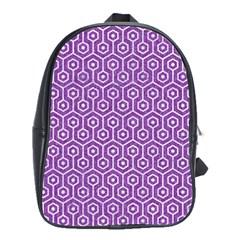 Hexagon1 White Marble & Purple Denim School Bag (large)