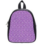 HEXAGON1 WHITE MARBLE & PURPLE DENIM School Bag (Small) Front