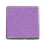 HEXAGON1 WHITE MARBLE & PURPLE DENIM Memory Card Reader (Square) Front