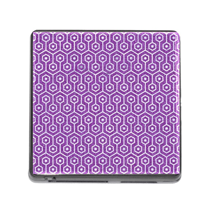 HEXAGON1 WHITE MARBLE & PURPLE DENIM Memory Card Reader (Square)