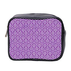 Hexagon1 White Marble & Purple Denim Mini Toiletries Bag 2 Side