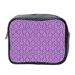 HEXAGON1 WHITE MARBLE & PURPLE DENIM Mini Toiletries Bag 2-Side Front