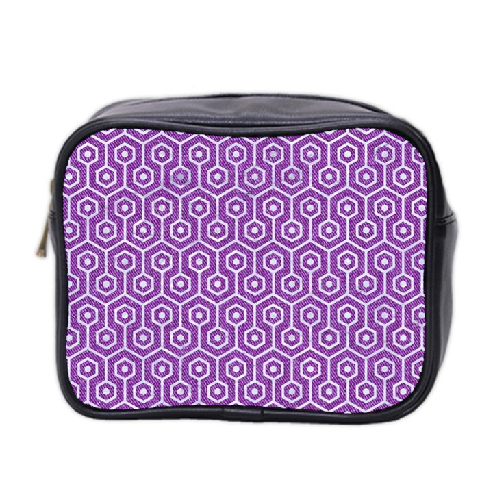 HEXAGON1 WHITE MARBLE & PURPLE DENIM Mini Toiletries Bag 2-Side
