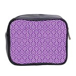 HEXAGON1 WHITE MARBLE & PURPLE DENIM Mini Toiletries Bag 2-Side Back