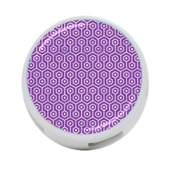 Hexagon1 White Marble & Purple Denim 4 Port Usb Hub (one Side)