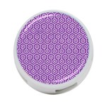 HEXAGON1 WHITE MARBLE & PURPLE DENIM 4-Port USB Hub (One Side) Front