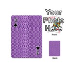 HEXAGON1 WHITE MARBLE & PURPLE DENIM Playing Cards 54 (Mini)  Front - Spade3