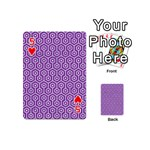 HEXAGON1 WHITE MARBLE & PURPLE DENIM Playing Cards 54 (Mini)  Front - Heart5
