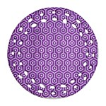 HEXAGON1 WHITE MARBLE & PURPLE DENIM Ornament (Round Filigree) Front