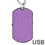 HEXAGON1 WHITE MARBLE & PURPLE DENIM Dog Tag USB Flash (Two Sides) Front