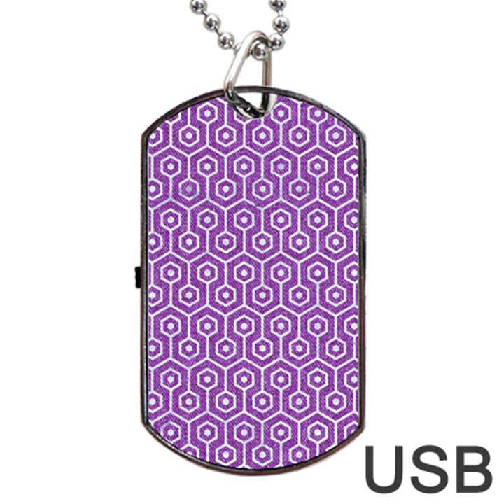 HEXAGON1 WHITE MARBLE & PURPLE DENIM Dog Tag USB Flash (Two Sides)