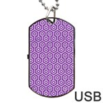 HEXAGON1 WHITE MARBLE & PURPLE DENIM Dog Tag USB Flash (Two Sides) Back
