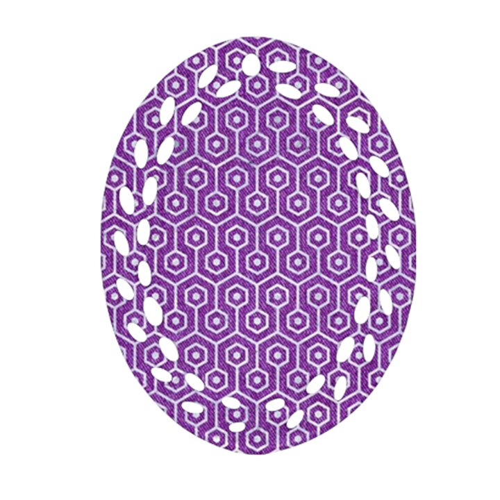 HEXAGON1 WHITE MARBLE & PURPLE DENIM Ornament (Oval Filigree)