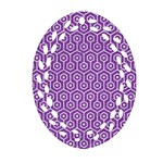 HEXAGON1 WHITE MARBLE & PURPLE DENIM Oval Filigree Ornament (Two Sides) Front