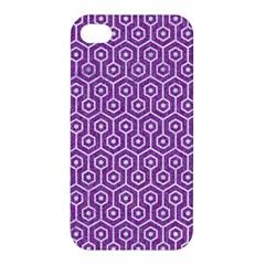 Hexagon1 White Marble & Purple Denim Apple Iphone 4/4s Hardshell Case