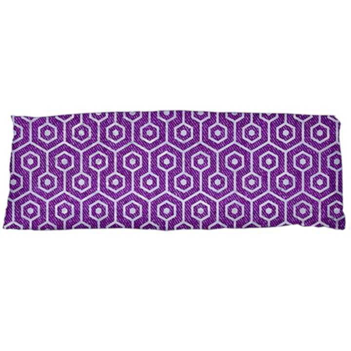 HEXAGON1 WHITE MARBLE & PURPLE DENIM Body Pillow Case (Dakimakura)