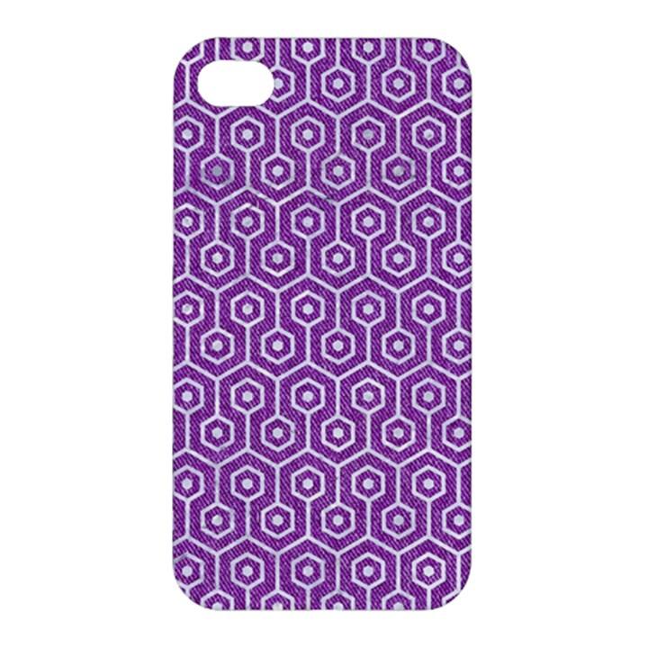 HEXAGON1 WHITE MARBLE & PURPLE DENIM Apple iPhone 4/4S Premium Hardshell Case