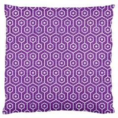 Hexagon1 White Marble & Purple Denim Large Cushion Case (two Sides)