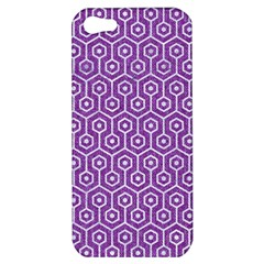 Hexagon1 White Marble & Purple Denim Apple Iphone 5 Hardshell Case