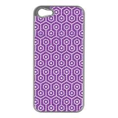 Hexagon1 White Marble & Purple Denim Apple Iphone 5 Case (silver)