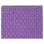 HEXAGON1 WHITE MARBLE & PURPLE DENIM Cosmetic Bag (XXXL)  Front