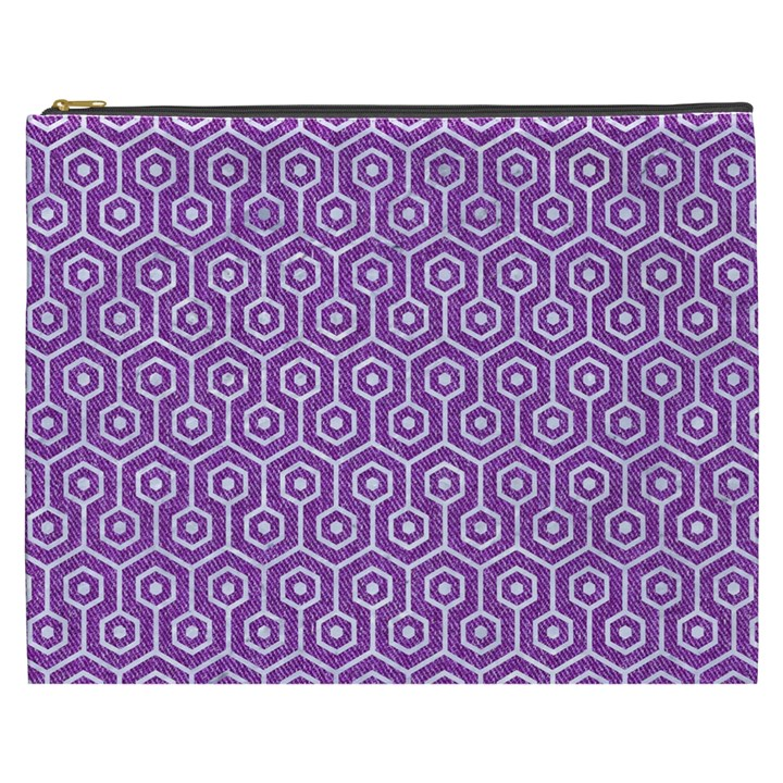 HEXAGON1 WHITE MARBLE & PURPLE DENIM Cosmetic Bag (XXXL)