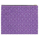 HEXAGON1 WHITE MARBLE & PURPLE DENIM Cosmetic Bag (XXXL)  Back
