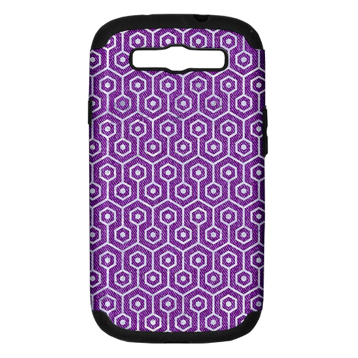 HEXAGON1 WHITE MARBLE & PURPLE DENIM Samsung Galaxy S III Hardshell Case (PC+Silicone)