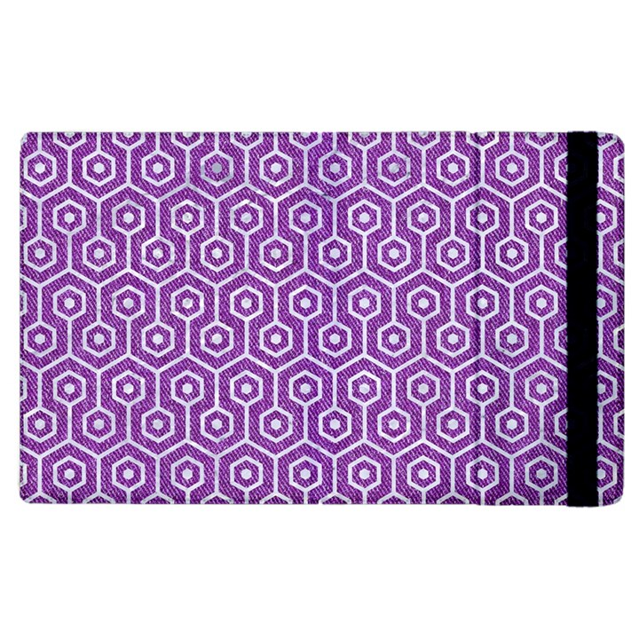 HEXAGON1 WHITE MARBLE & PURPLE DENIM Apple iPad 2 Flip Case