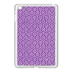 HEXAGON1 WHITE MARBLE & PURPLE DENIM Apple iPad Mini Case (White) Front