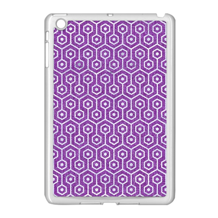HEXAGON1 WHITE MARBLE & PURPLE DENIM Apple iPad Mini Case (White)