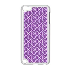 Hexagon1 White Marble & Purple Denim Apple Ipod Touch 5 Case (white)