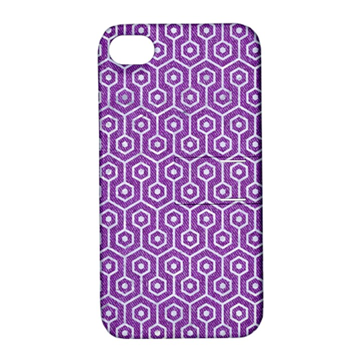 HEXAGON1 WHITE MARBLE & PURPLE DENIM Apple iPhone 4/4S Hardshell Case with Stand