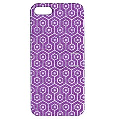 Hexagon1 White Marble & Purple Denim Apple Iphone 5 Hardshell Case With Stand