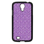 HEXAGON1 WHITE MARBLE & PURPLE DENIM Samsung Galaxy S4 I9500/ I9505 Case (Black) Front