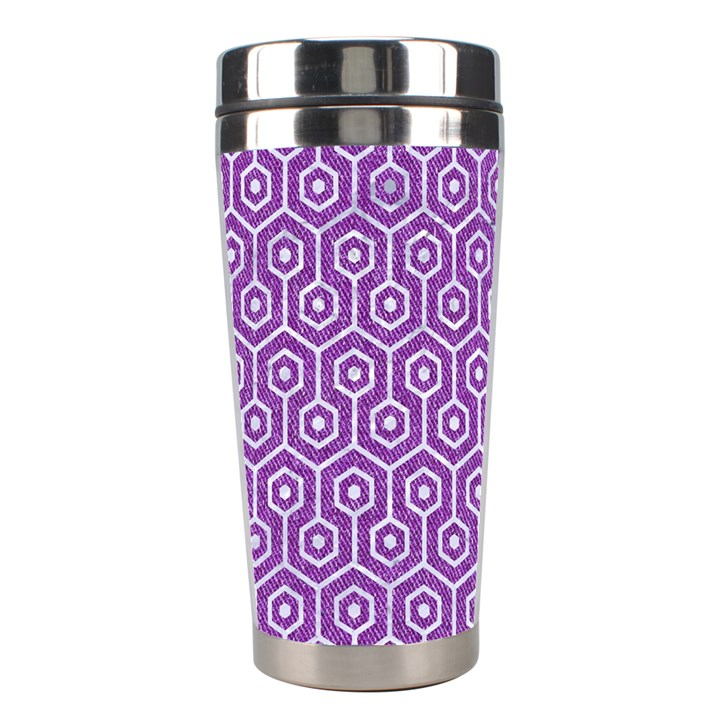 HEXAGON1 WHITE MARBLE & PURPLE DENIM Stainless Steel Travel Tumblers